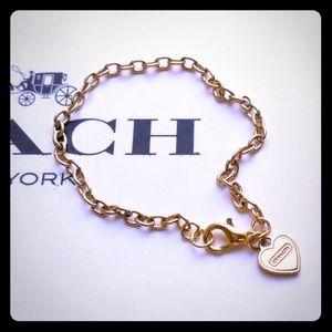 Authentic Coach Script Heart Charm Chain Bracelet